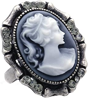 Soulbreezecollection Cameo Ring Adjustable Size Band Women Lady Fashion Jewelry