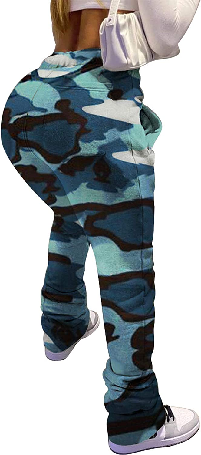 DINGANG Casual Jogger for Women Slim Fit Camouflage Camo High Waist Sweatpants with Pockets