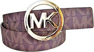 Mk Signature Monogram Logo Gold Buckle Belt Brown Size Small