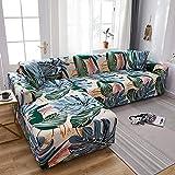 Fundas Sofas 3 y 2 Plazas Ajustables Hojas De Color Beige Rosa Verde Fundas para Sofa Spandex Cubre Sofa Estampadas Fundas Sofa Elasticas Universal Verano Modernas Fundas para Sofa Chaise Longue