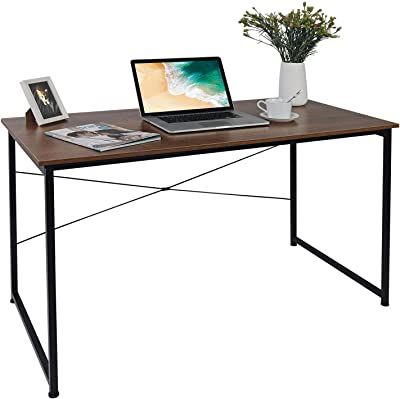 """SINKCOL Computer Desk, 47"""" Office Desk with 0.6"""" Thicker Tabletop, Simple Study Table, Industrial Style Writing Study Table for Home Office Vintage Brown"""
