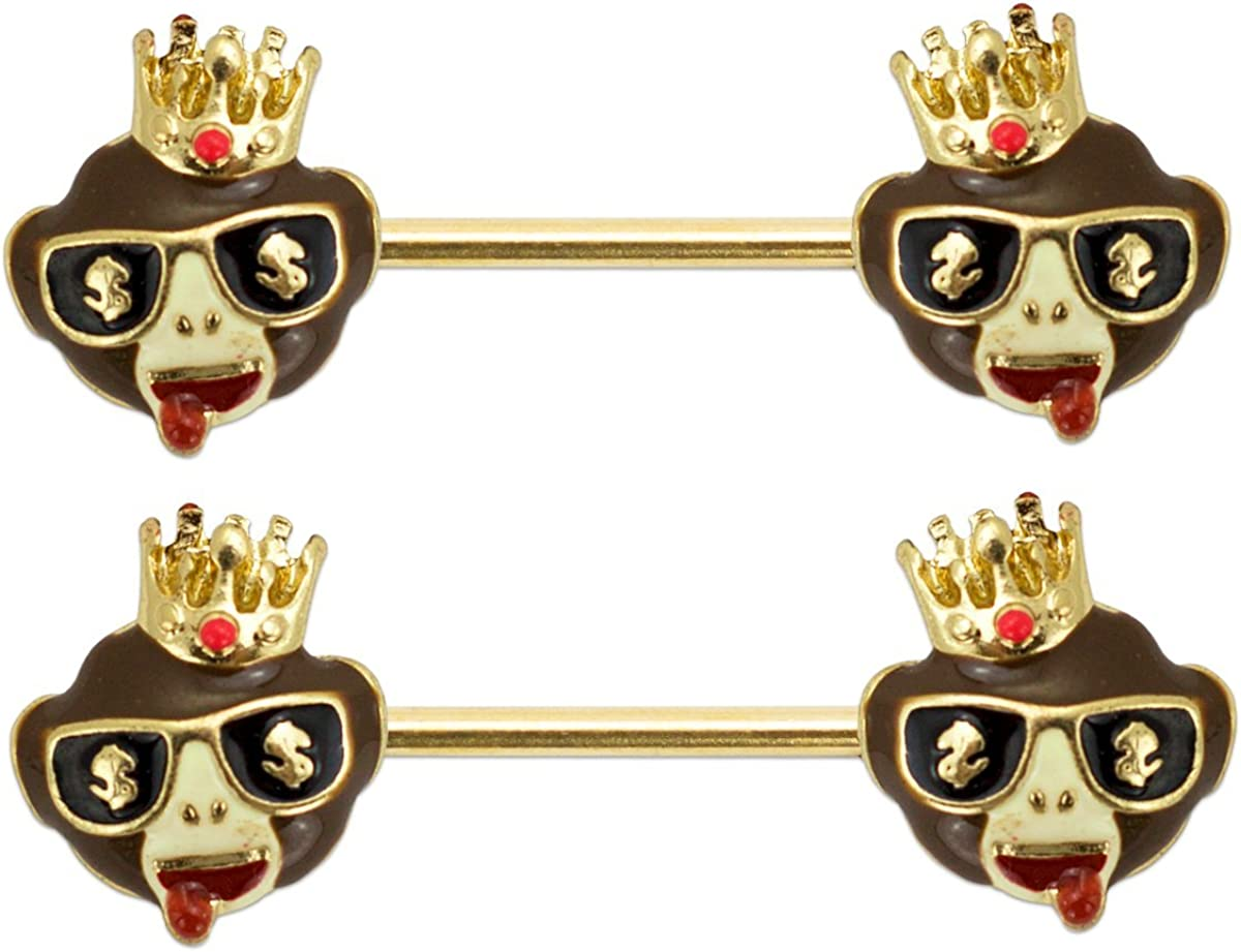 emoji 2 Pcs 14G Royal Monkey Nipplerings Piercing Barbell Nipple Rings Body Jewelry Piercing Women 9/16