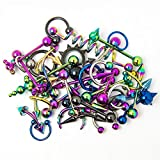 Overstock Body Jewelry - 20 Pieces Mixed Anodized Titanium -Belly,Lip, Ear, Nipple, Tongue