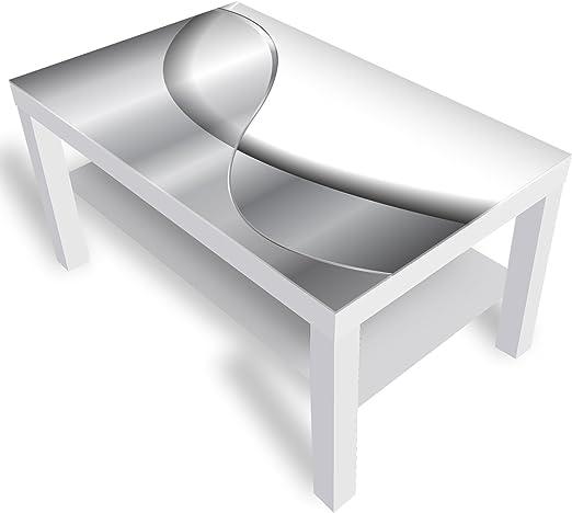 IKEA Lack Beistelltisch Couchtisch 'Abstraktion' Sofatisch mit Motiv Glasplatte Kaffee Tisch von DEKOGLAS, 90x55x45 cm Weiß