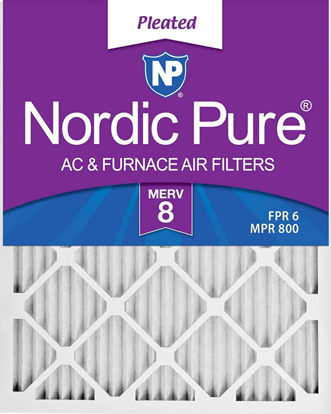 Nordic Pure 20x24x1 MERV 8 Pleated AC Furnace Air Filters 1 Pack