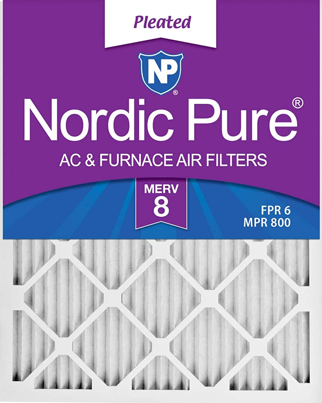 Nordic Pure 17_1/4x29_1/4x1 Exact MERV 8 Pleated AC Furnace Air Filters 4 Pack