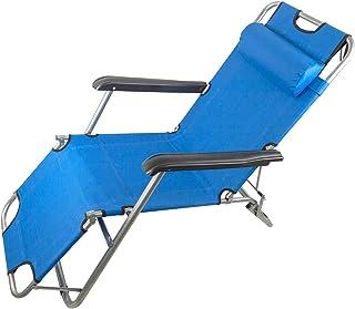 Piscina e Giardino con Cuscino con Tetto Parasole Perfetti per Spiaggia Mare MLI Set 2 Lettini Prendisole Pieghevoli Blu Leggeri in Alluminio 85104BLU