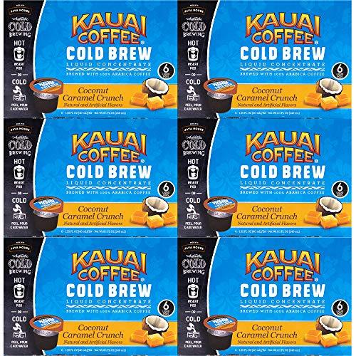 JAVA HOUSE Cold Brew Coffee Concentrate Liquid Pods - 1.35 Fluid Ounces- Enjoy Hot Or Iced (Kauai Coconut Caramel Crunch, 36 Count)