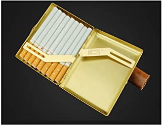 LIFANGAU Copper Cigarette Case, Vintage Portable Engraving Cigarette Case, 18 Sticks, (Color : Gold)