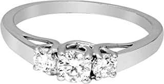 100% Real Diamond Ring Three Stones Diamond Rings 1/2ct IGI Certified Lab Grown Diamond Engagement Rings For Women Diamond Ring SI-GH 925S Sterling Silver Real Diamond Rings