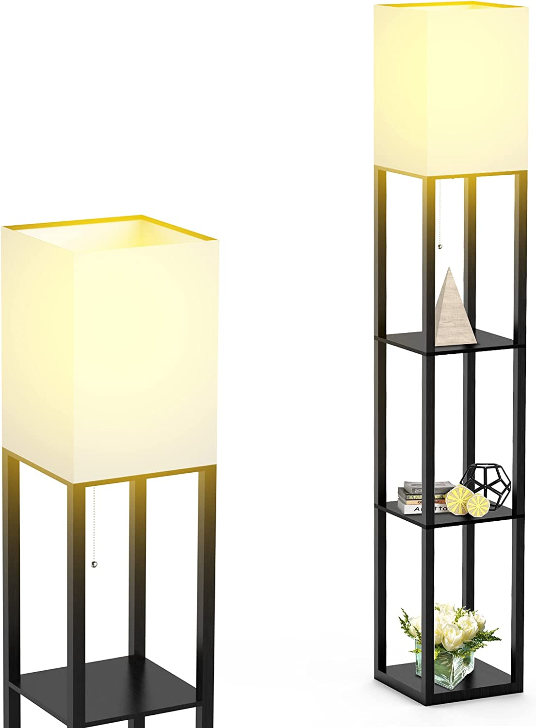 Excellence Luxury Floor Lamp with Shelves by w Solid Modern Shelf Wood