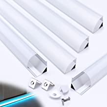 Muzata Aluminum Channel for Led Strip Light with Milky White Curved Diffuser Cover, End Caps, and Mounting Clips, Right Angle Aluminum Profile, V-Shape,with Video 5-Pack 3.3ft/1M V1SW,LV1 LW1