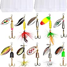 10pcs Fishing Lure Spinnerbait,Bass Trout Salmon Hard Metal Spinner Baits Kit with 2 Tackle Boxes by Tbuymax