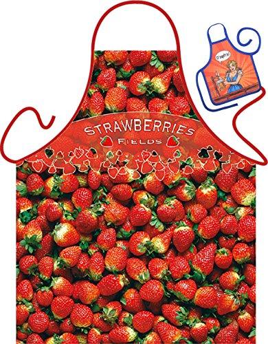 Strawberries – Tablier humoristique Fun Party et mini pour à la bouteille