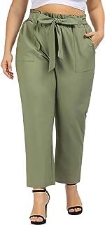 Hanna Nikole Women's Pull-On Pants Elastic Waist Plus Size Cropped Pockets Pants