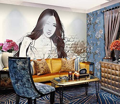 """3D Lang Harige Meid WG0930 Behang Afdrukken Decal Deco Binnen Muur Muurschildering Zelfklevend Behang AJ WALLPAPER NL Muzi (Vinyl (geen lijm en verwijderbaar), 【123""""x87""""】312x219cm(WxH))"""