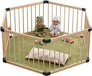 FJFSC Wooden Baby Playpen And Playmat Panels Child Kids Barrier Expandable Play Pen  Diagonal 150cm
