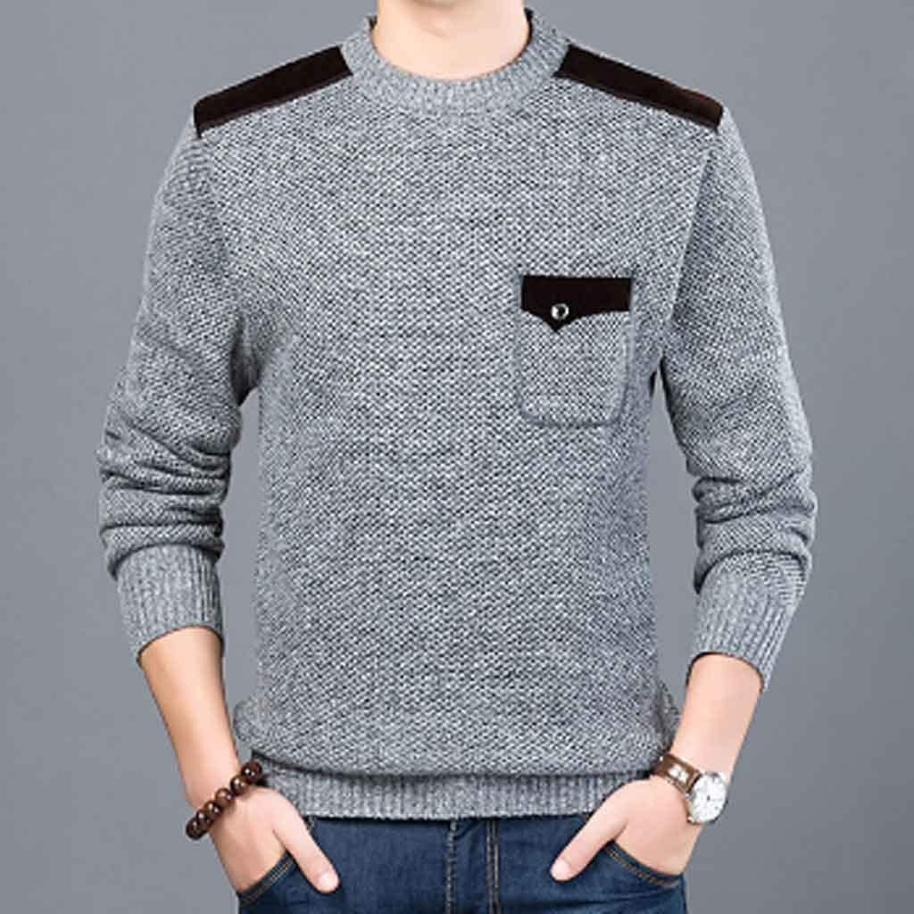 XJJZS Brand Sweater for Mens Pullovers Slim Fit Jumpers Knitwear Neck Autumn Korean Style Casual Clothing Male (Color : B, Size : M Code)