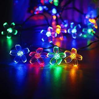 mankinlu Solar Flower String Lights, Solar Powered Multicolor Cherry Blossom 23ft 50 LEDs Waterproof Outdoor String Lights...
