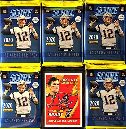 NEW 2020 Panini SCORE Football Packs - 5 Factory Sealed Packs/12 Cards Per Pack - Look For Joe Burrow RCs! - Plus One Custom Tom Brady Football Card.
