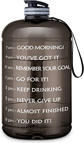 Gallon Water Bottle Portable Water Jug - Fitness Sports Daily Water Bottle with Motivational Time Marker, Leak-Proof ...