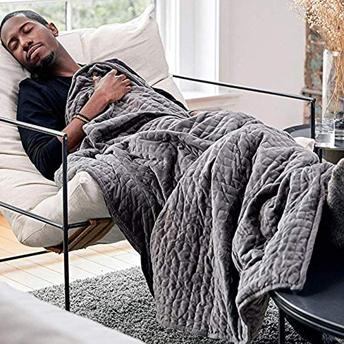 GCP Sleep Relief Heavy Blanket,Soft Cozy Reduces Stress Anxiety Weighted Blanket With Removable Washable Cover-Gray 152x203cm(12lb)