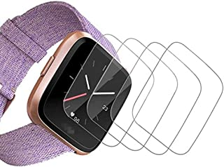 [4 Pack] Fitbit Versa Screen Protector Tempered Glass Film Gavoyeat HD Screen Protector for Fitbit Versa Smart Watch [Crystal-Clear 9H-Hardness Scratch-Resist No-Bubble]