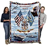 US Navy - Cotton Woven Blanket Throw - Made in The USA (72x54)
