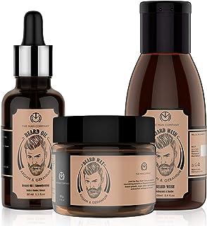 The Man Company Beard Affair | Beard Growth Oil (30ml), Beard Hair Wash (100ml), Beard Wax (50gm) | Argan & Geranium Natur...