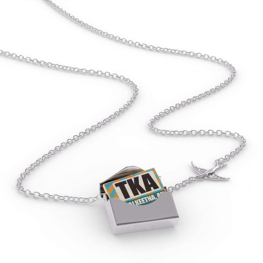 NEONBLOND Locket Necklace Airportcode TKA Talkeetna, AK in a Silver Envelope