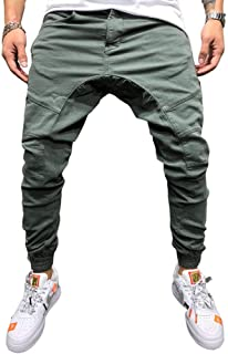 N/ A Mens Solid Color Work Trousers with Knee pad Decoration Splicing Pockets, Work Sports Trousers Slim Fit Elasticated