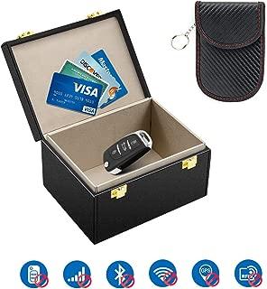 Kolaura Singal Blocker Box, Singal Blocker Case for Car Key Fob Phone Cards, Safe Leather Pouch for Call & RFID Blocker, Keyless Car Security Anti Theft Large Storage Case