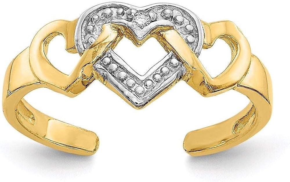 14K Yellow Gold Diamond Heart Toe Ring (0.01CTW)