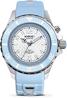 KYBOE! Power Stainless Steel Quartz Watch with Silicone Strap, Blue, 20 (Model: KY.40-030.15)
