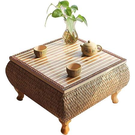 Tables Basse D'appoint en Bambou À Thé Zen Basses en Tatami De Rotin Japonais De Balcon Simple De Fenêtre Tissée À La Main Basses