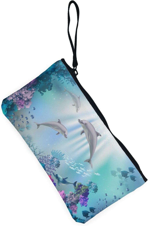 AORRUAM Blue Ocean Underwater Fish Canvas Coin Purse,Canvas Zipper Pencil Cases,Canvas Change Purse Pouch Mini Wallet Coin Bag