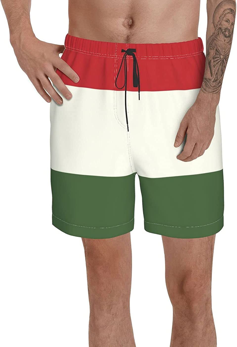 Count Hungary Flag Men's 3D Printed Funny Summer Quick Dry Swim Short Board Shorts with