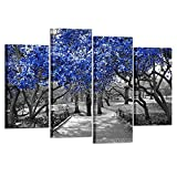 Kreative Arts - 4 Panel Canvas Prints Blue Blossoms Trees in Black and White Landscape Scene in Central Park New York City Picture Wall Art Modern Canvas Painting For Home Decoration L47xH32inch