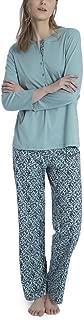 Calida 100% Cotton Knit Pajamas - Long Sleeve Printed Set in Blue Lily