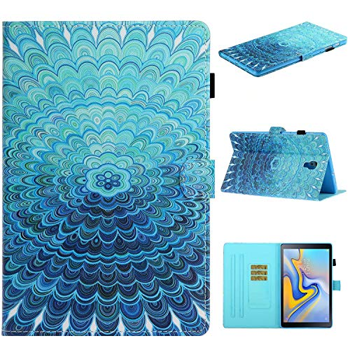 Miagon für Samsung Galaxy Tab A SM-T590/T595 {10.5 Zoll} Hülle,Schlank Fit PU Leder Folio Stand Brieftasche Clever Cover Cute Muster Stoßfest Shell mit Auto Aufwachen/Schlaf,Blau Blume