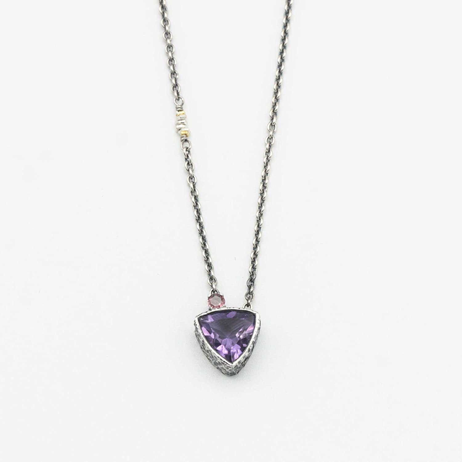 Trillion faceted amethyst pendant necklace setti bezel Quality inspection silver in Topics on TV