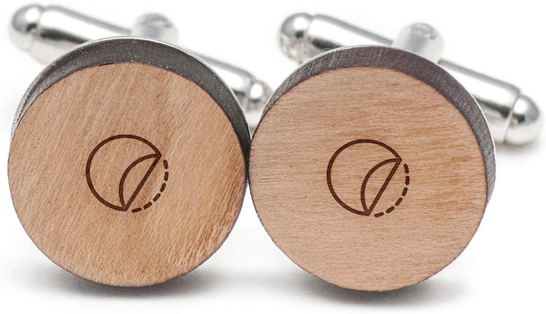 Sticker Cufflinks, Wood Cufflinks Hand Made in the USA