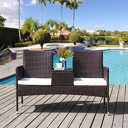 ROOD 2-Seater Garden Rattan Chair Campanion Chair with Tempered Glass Coffee Table Removable Cushions Outdoor Wicker Loveseat Garden Furniture Set with Waterproof PE Wicker Durable Steel Frame