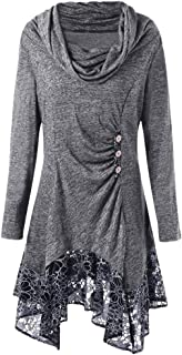 VigorY㉿ Women Uneven Hemline Hoody Shirt Pocket Tunic Long Sleeve Casual Tops Cowl Neck Asymmetrical Hemline Flowy Top