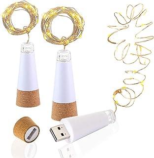 LED Corcho Botella Luces, USB Con Recargable, 1,9 m 20 LED, Cobre Alambre Cadena Estrellado LED Luces para DIY, Casa Cocina, Boda, Halloween, Navidad, Partido Decoración (Blanco Cálido, 3 Piezas)