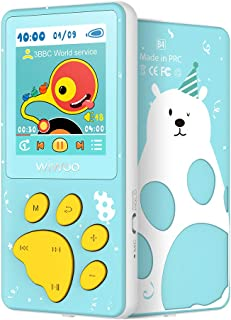 MP3 Player for Kids, Wiwoo Portable Cute Cartoon Music Player with FM Radio Video Puzzle Games Sleep Timer Voice Recorder, Child MP3 Player Support Up 128GB, Blue