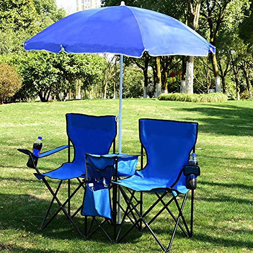 tquuquu Silla de Picnic Plegable portátil Doble, con sombrilla de Playa, Silla de Camping, recreación al Aire Libre, cómoda Silla de Camping, sillón reclinable de jardín Familiar
