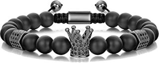8mm Crown King Charm Bracelet for Men Women Black Matte Onyx Stone Beads, 7.5