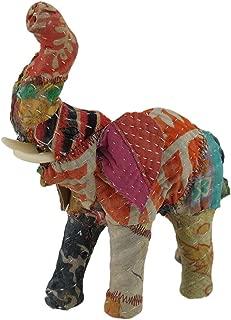Zeckos Vintage Sari Fabric Covered Paper Mache Elephant Sculpture 7 in.