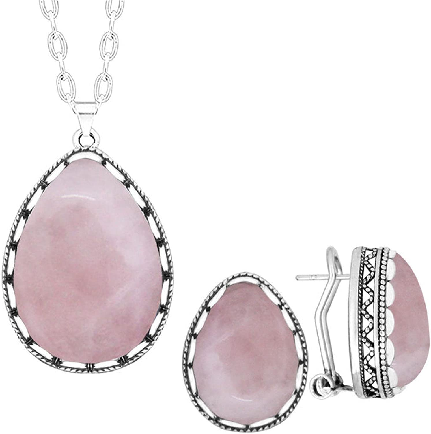 Classic Water Drop Pink Quartz Jewelry Sets Necklace Stud Earring Stainless Steel Chain For Woman
